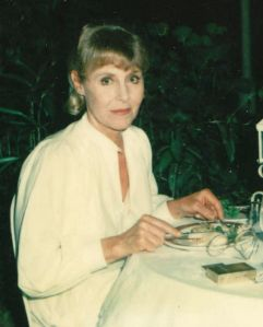 Anne dining at Raffles during filming of Tenko Series 3 in Singapore in 1984 (Jill Hyem)